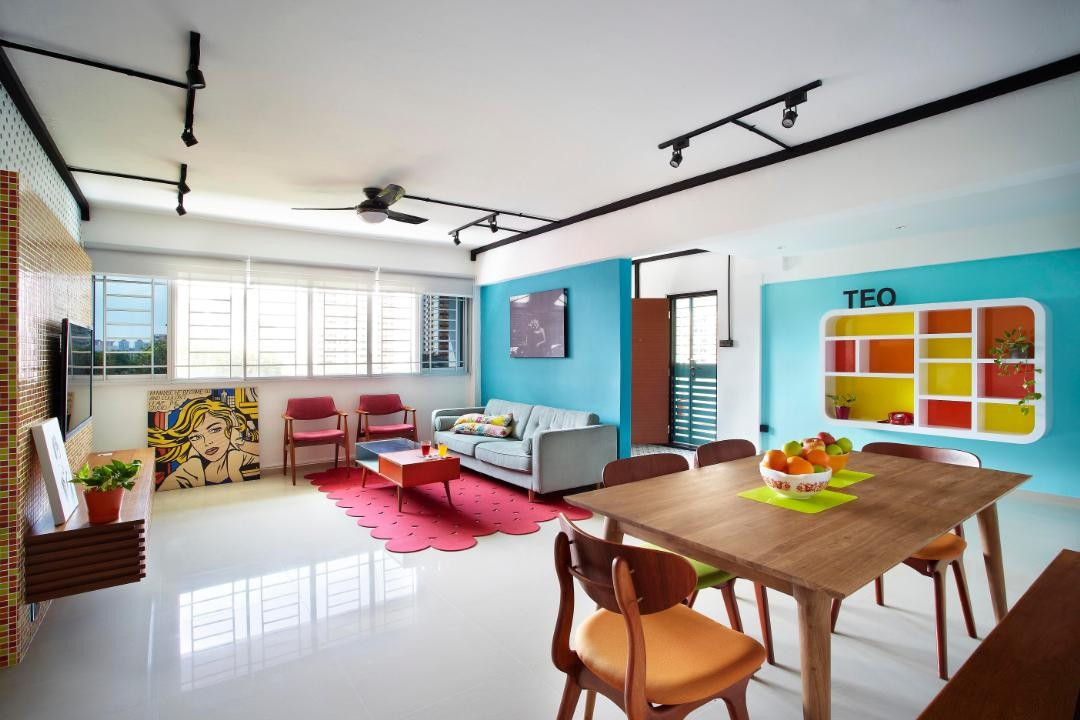 blue spacious hdb wall