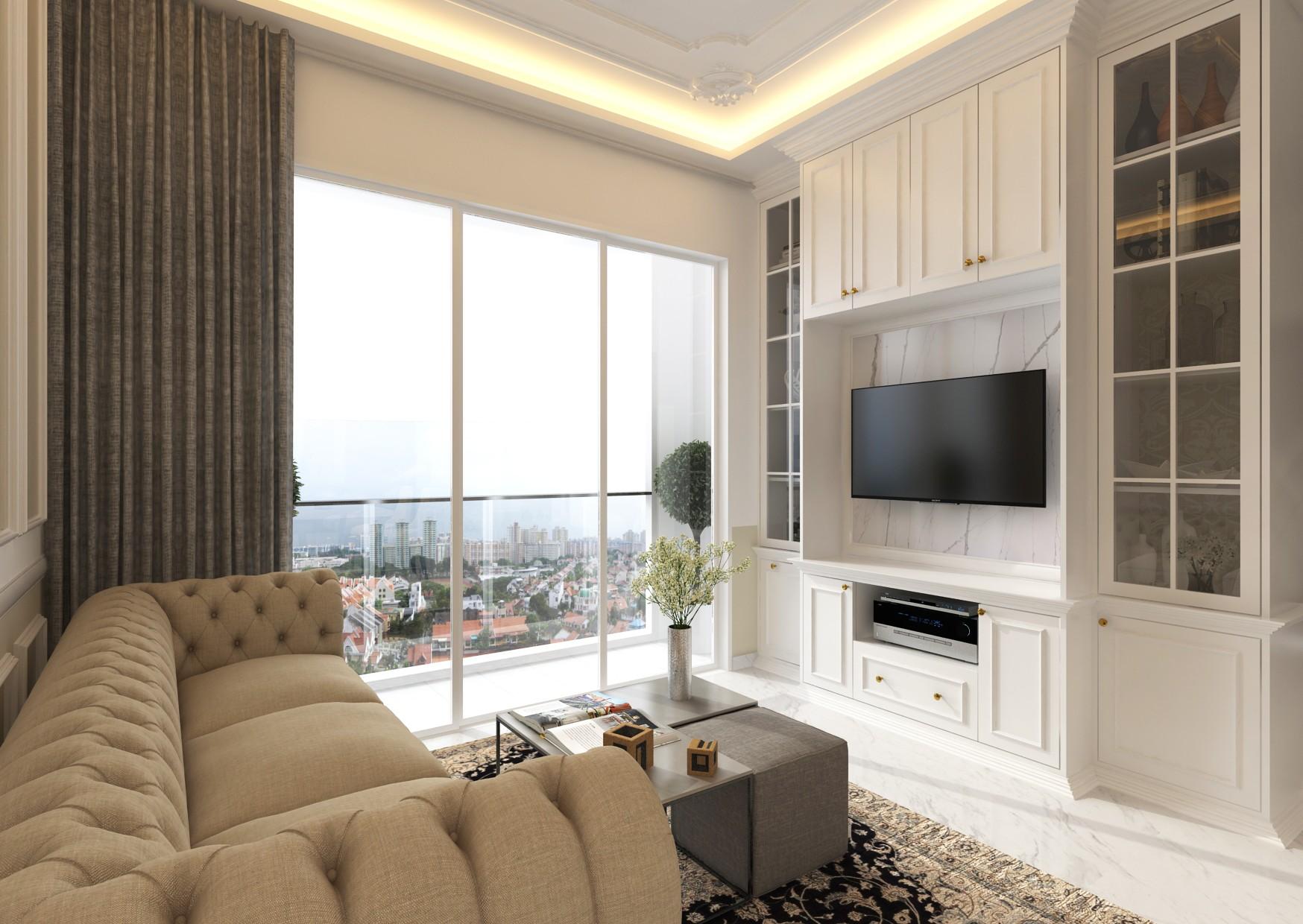 vintage resale condo living room