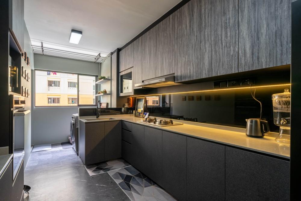 dark kitchen cabinet